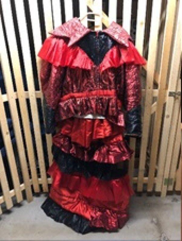 Kleid orange-rotes Kleid Einzelstücke